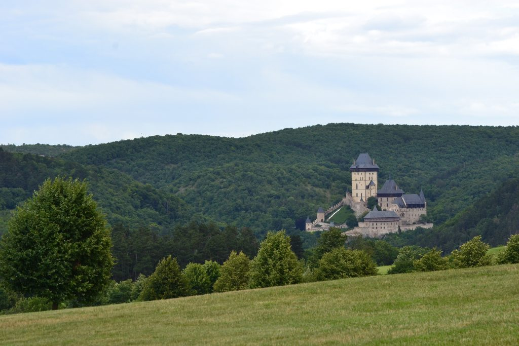 Karlstej Castle in the Czech Republic, view from the forest